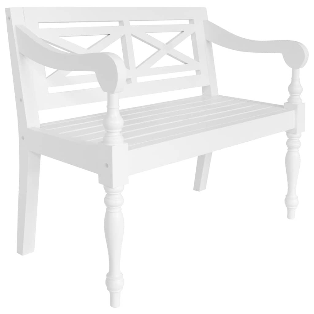 Batavia-Sitzbank 98 cm Mahagoni Massivholz Weiß