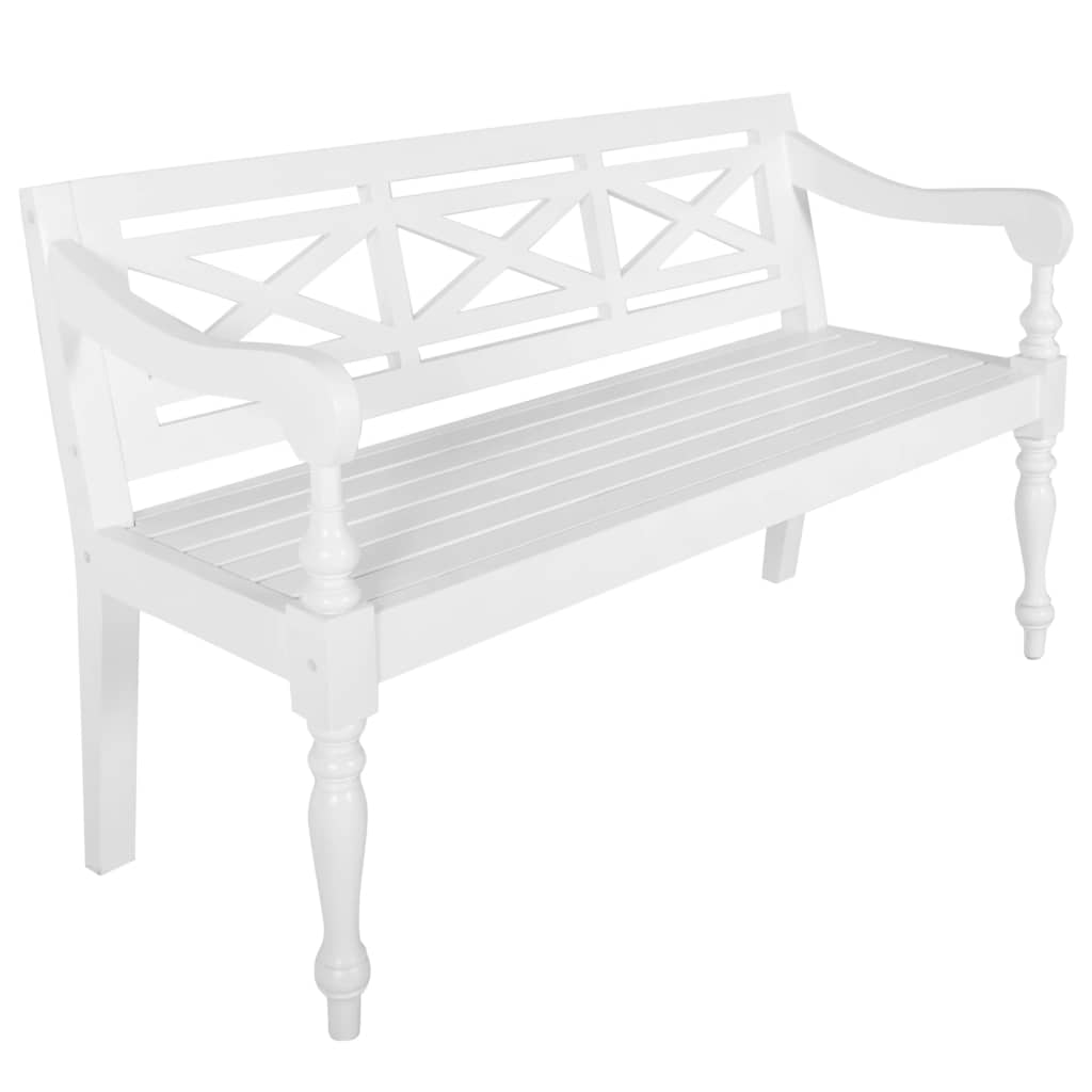 Batavia-Sitzbank 136 cm Mahagoni Massivholz Weiß
