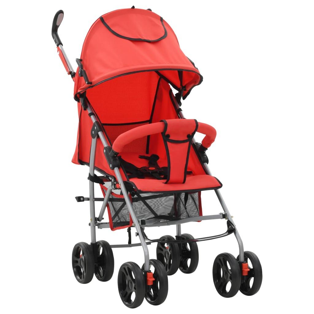 2-in-1 Kinderwagen Buggy Klappbar Rot Stahl