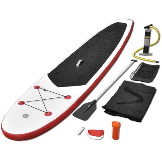 Stand Up-Paddelboard-Set Aufblasbar Rot und Weiß