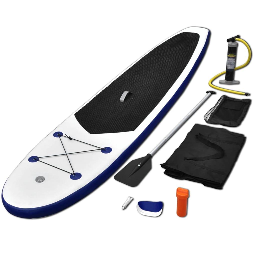 Stand Up-Paddelboard-Set Aufblasbar Blau und Weiß