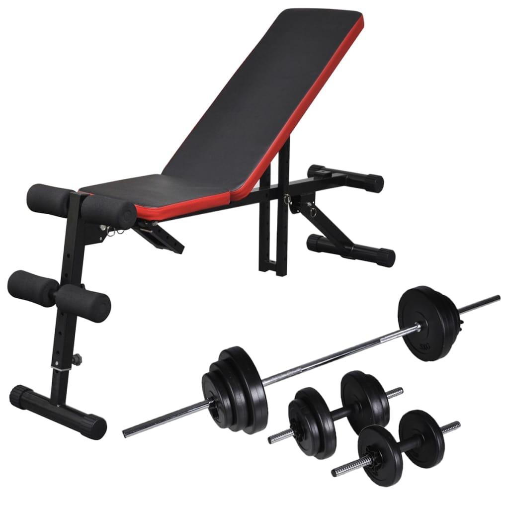 Einstellbare Trainingsbank mit Lang- und Kurzhantel-Set 30,5 kg