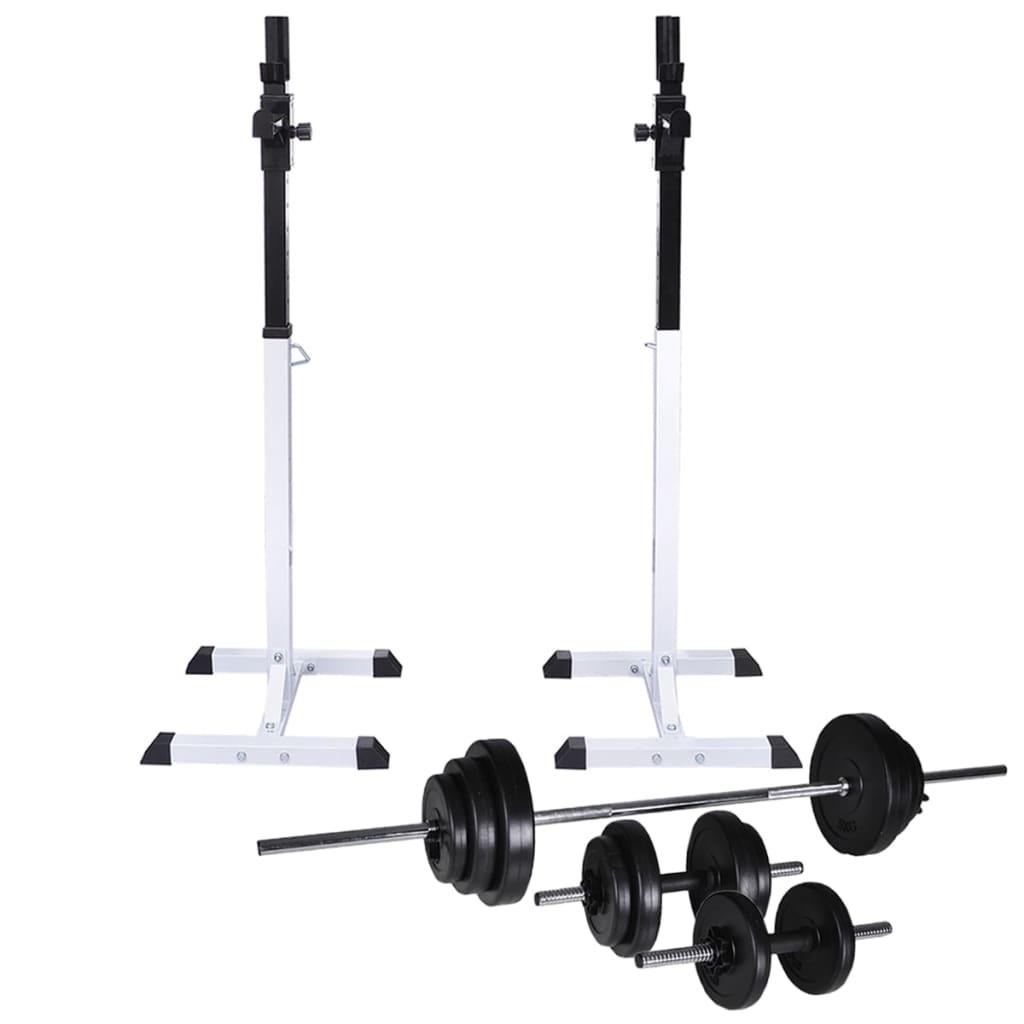 Kniebeugen-/Langhantelständer mit Hantel-Set 30,5 kg