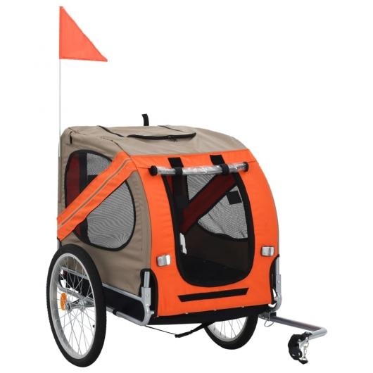 Hunde-Fahrradanhänger Orange und Braun