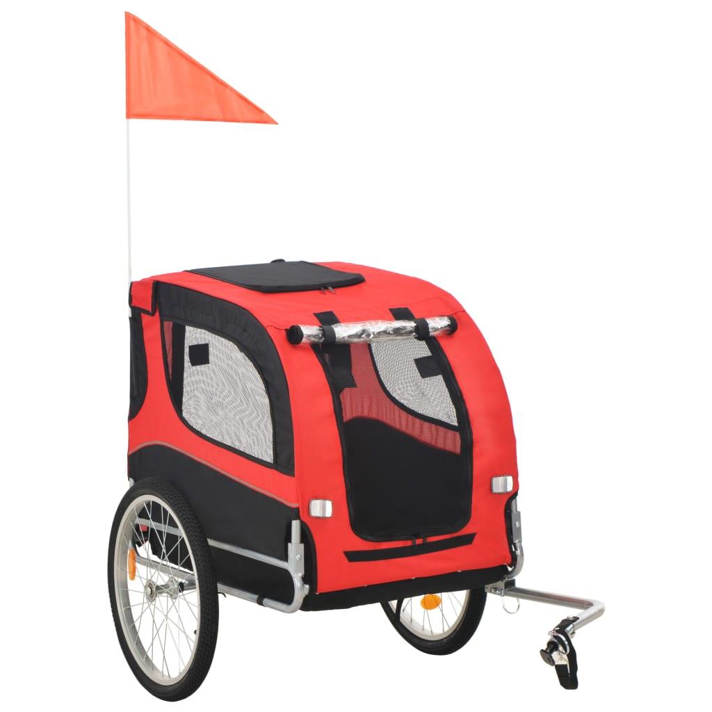 Hunde-Fahrradanhänger Rot und Schwarz