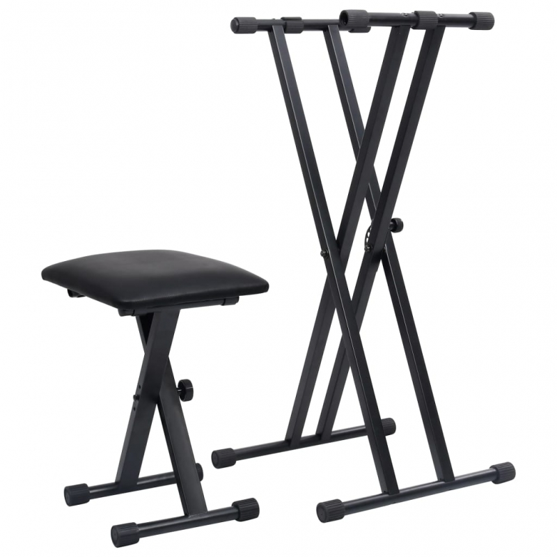 Doppelstrebiger Keyboard-Ständer und Hocker Set Schwarz