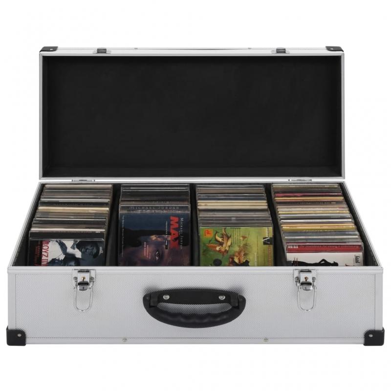 CD-Koffer für 80 CDs Aluminium ABS Silbern