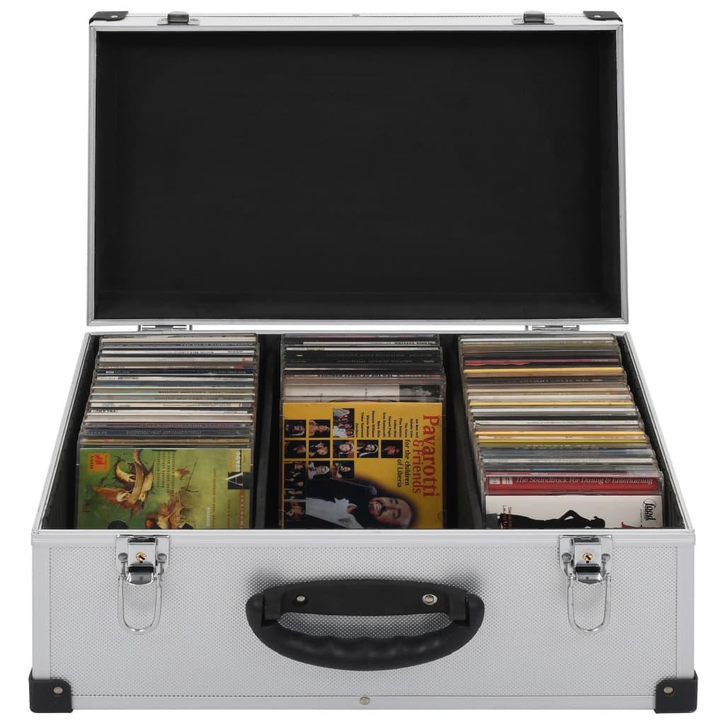 CD-Koffer für 60 CDs Aluminium ABS Silbern