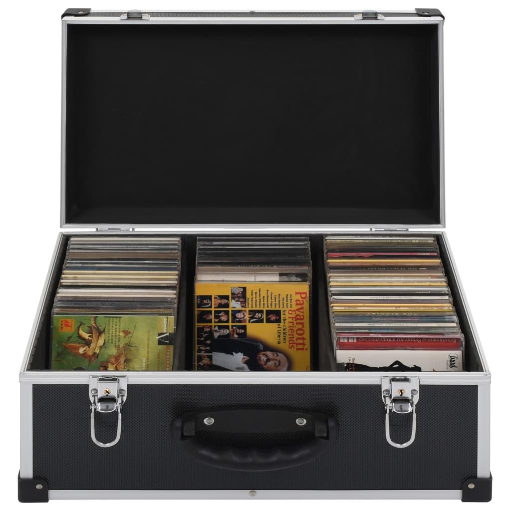 CD-Koffer für 60 CDs Aluminium ABS Schwarz