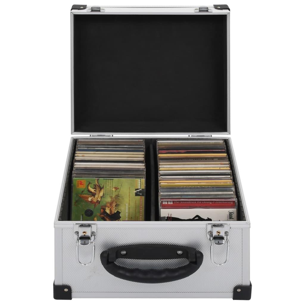 CD-Koffer für 40 CDs Aluminium ABS Silbern