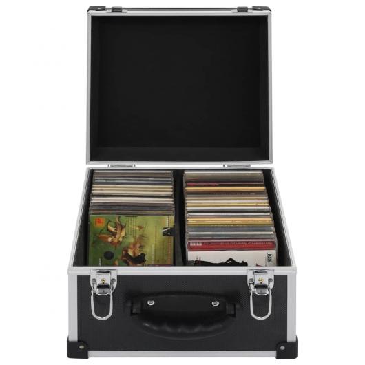 CD-Koffer für 40 CDs Aluminium ABS Schwarz