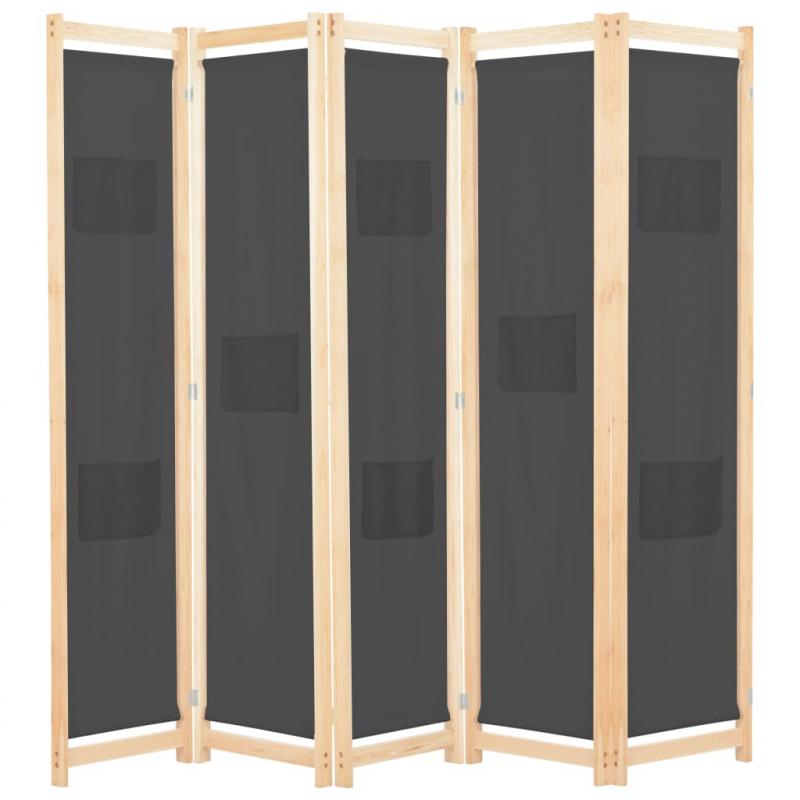 5-teiliger Raumteiler Grau 200 x 170 x 4 cm Stoff