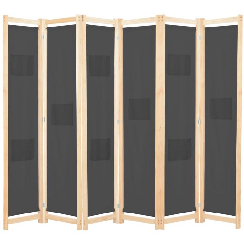 6-teiliger Raumteiler Grau 240 x 170 x 4 cm Stoff