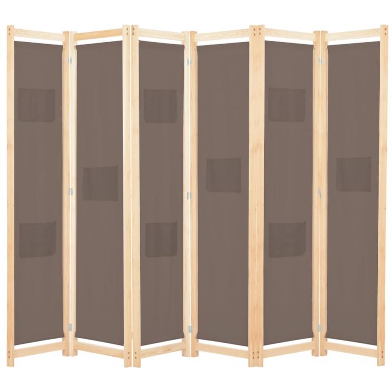 6-teiliger Raumteiler Braun 240 x 170 x 4 cm Stoff