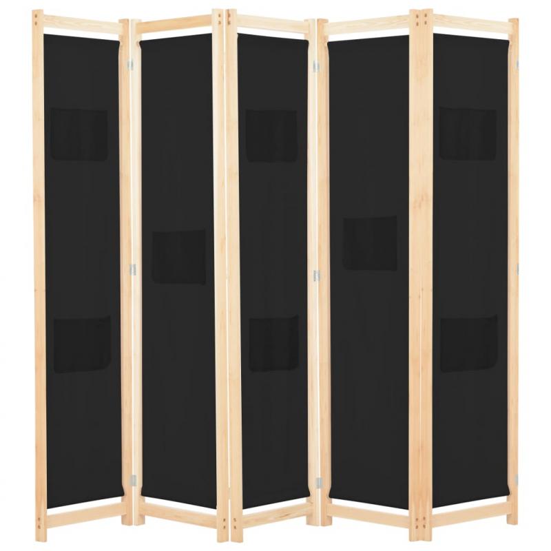 5-teiliger Raumteiler Schwarz 200 x 170 x 4 cm Stoff