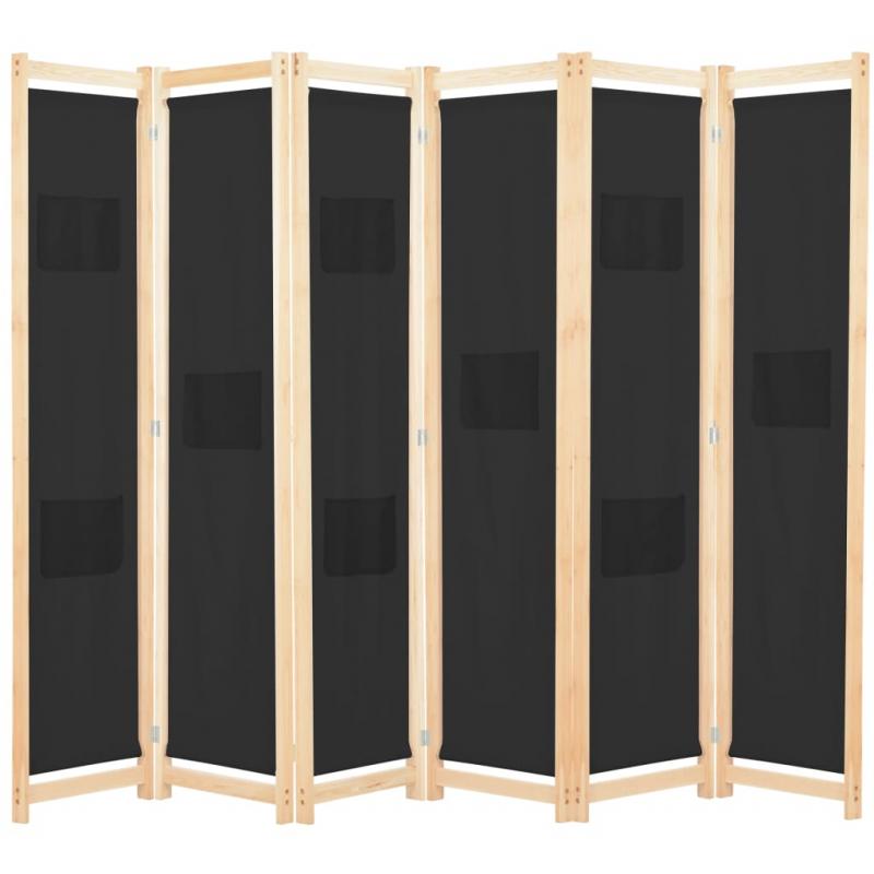 6-teiliger Raumteiler Schwarz 240 x 170 x 4 cm Stoff