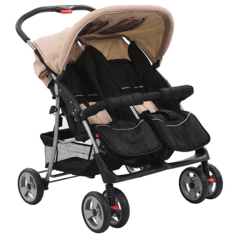 Baby Zwillingswagen Taupe und Schwarz Stahl