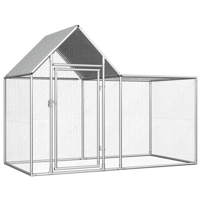 Hühnerstall 2×1×1,5 m Verzinkter Stahl