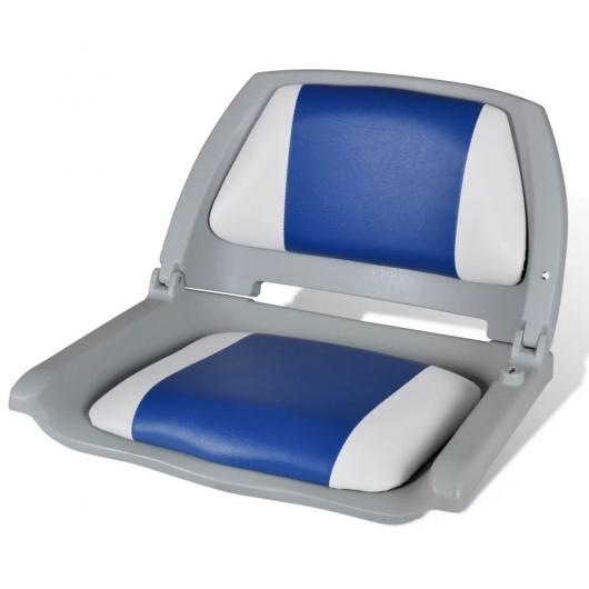 Bootssitz Bootsstuhl Steuerstuhl Anglerstuhl klappbar Blau-weiß