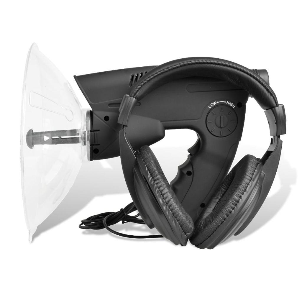 Parabol-Richtmikrofon mit Visierung und Kopfhörer