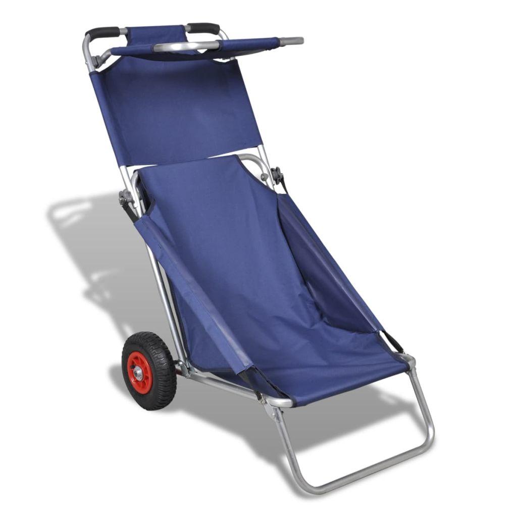 Strandwagen mit Rädern Tragbar Klappbar Blau
