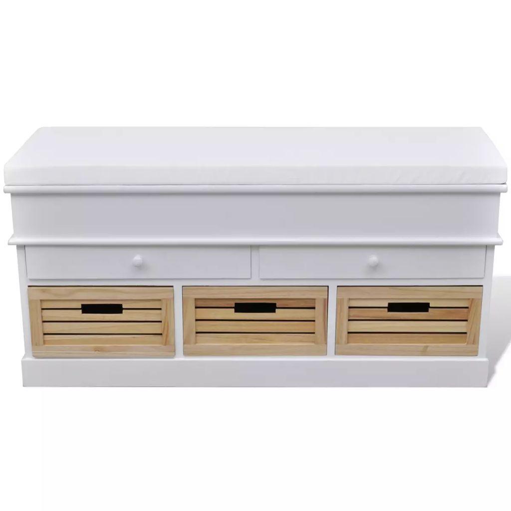 Flurbank mit Stauraum und Sitzpolster Weiß 2 Schubladen 3 Kisten