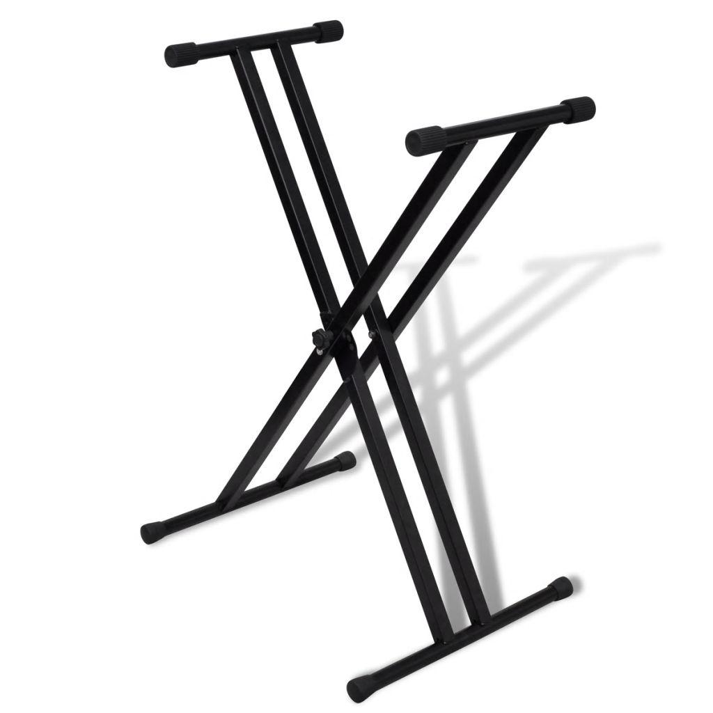 Verstellbare Doppelversteifter Keyboardständer X-Rahmen