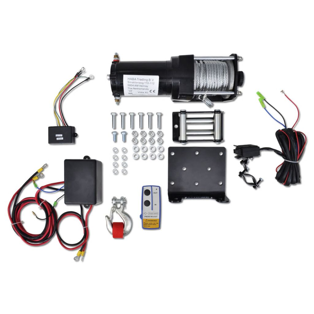 12 V Elektrische Seilwinde 1360kg + Montageplatte Fernbedienung