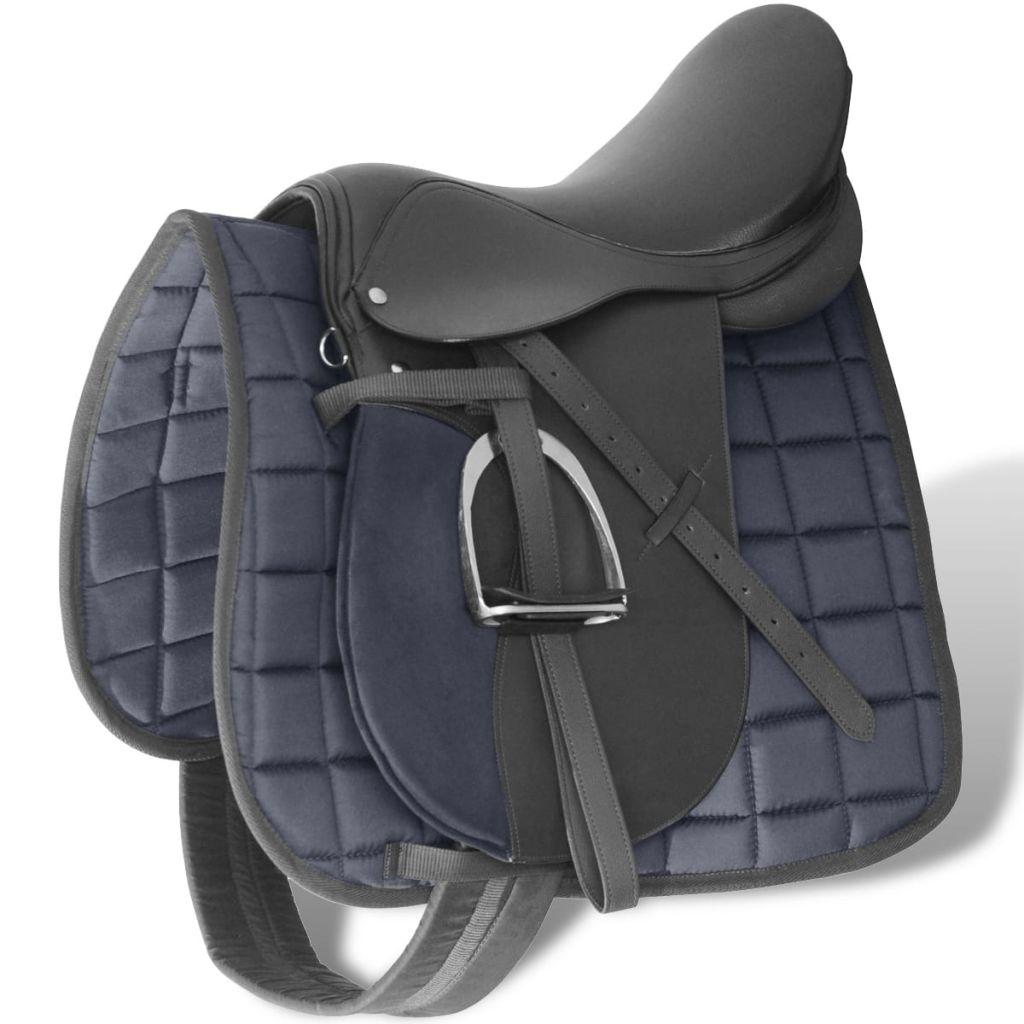 Pferdereiten Sattelset 17,5 echtes Leder schwarz 12 cm 5-in-1