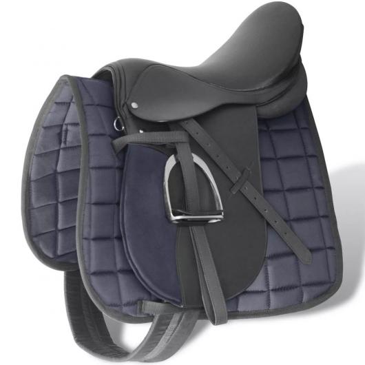 Pferdereiten Sattelset 17,5 echtes Leder schwarz 18 cm 5-in-1