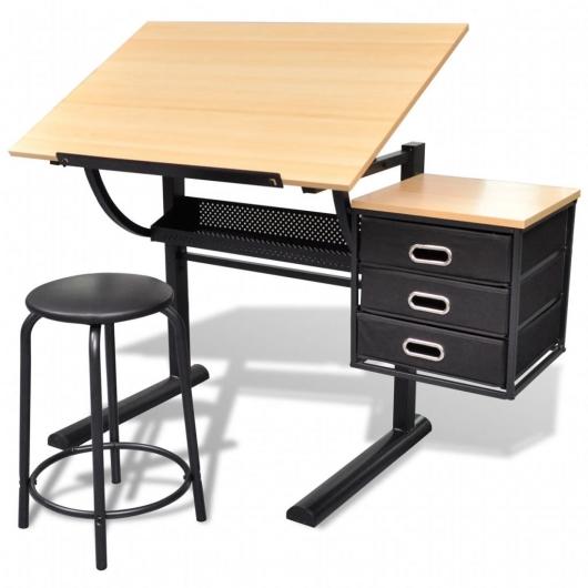 Zeichentisch mit neigbarer Tischplatte 3 Schubladen und Hocker