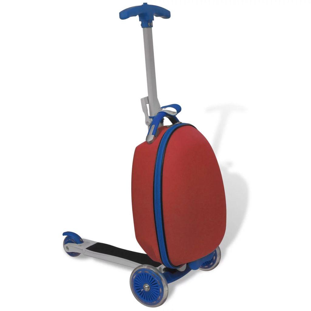 Roller mit Trolley-Koffer für Kinder Rot