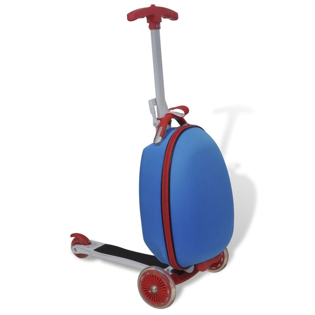 Roller mit Trolley-Koffer für Kinder Blau