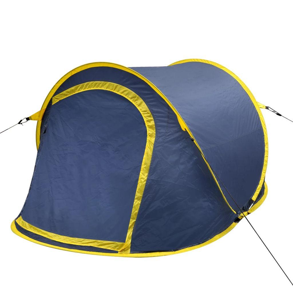 Pop-Up-Zelt für 2 Personen Marineblau/Gelb