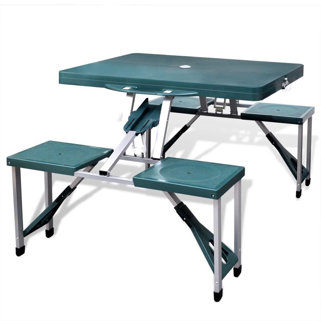 Klappbares Campingtisch-Set Aluminium mit 4 Stühlen extra leicht grün
