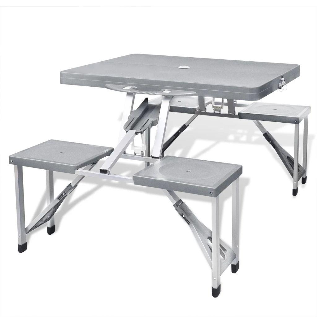 Klappbares Campingtisch-Set Aluminium mit 4 Stühlen extra leicht grau