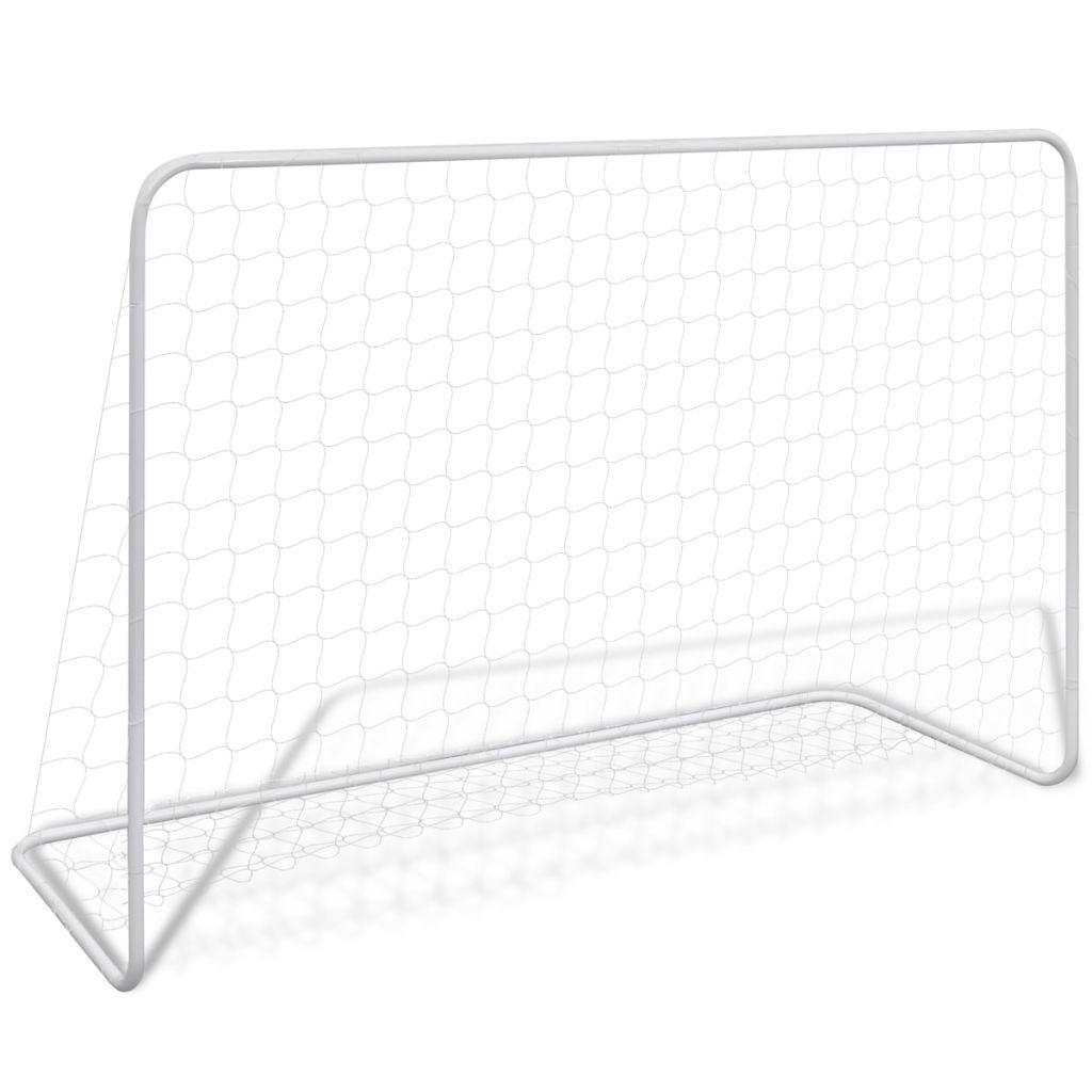 Fußballtor mit Netz 182×61×122 cm Stahl Weiß