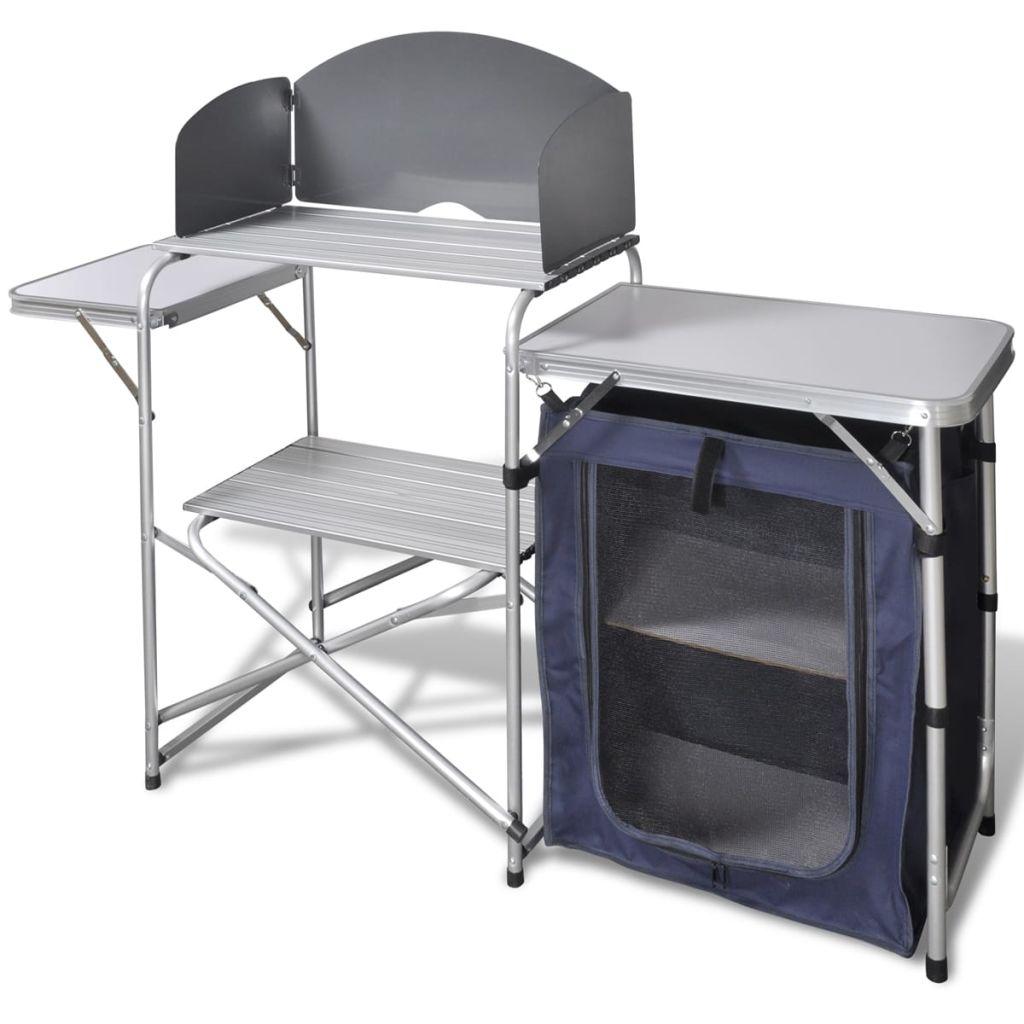 Camping-Kochstation aus Aluminium zusammenklappbar mit Windschutz