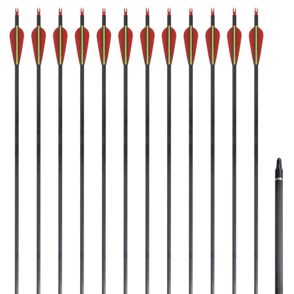 Standard Recurvebogen-Pfeile 30 0,76 cm Karbon 12 Stück