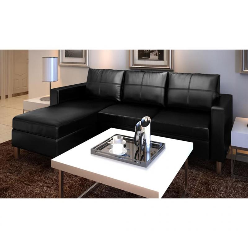 L-förmiges Sofa 3-Sitzer Kunstleder Schwarz