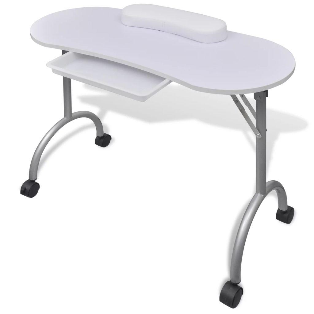 Klappbarer Maniküre-Tisch mit Rollen Weiß