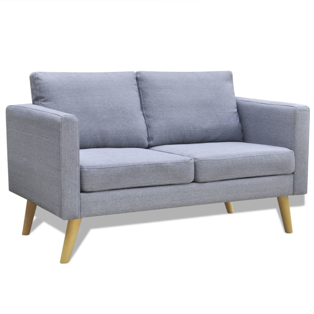 Sofa 2-Sitzer Stoff Hellgrau