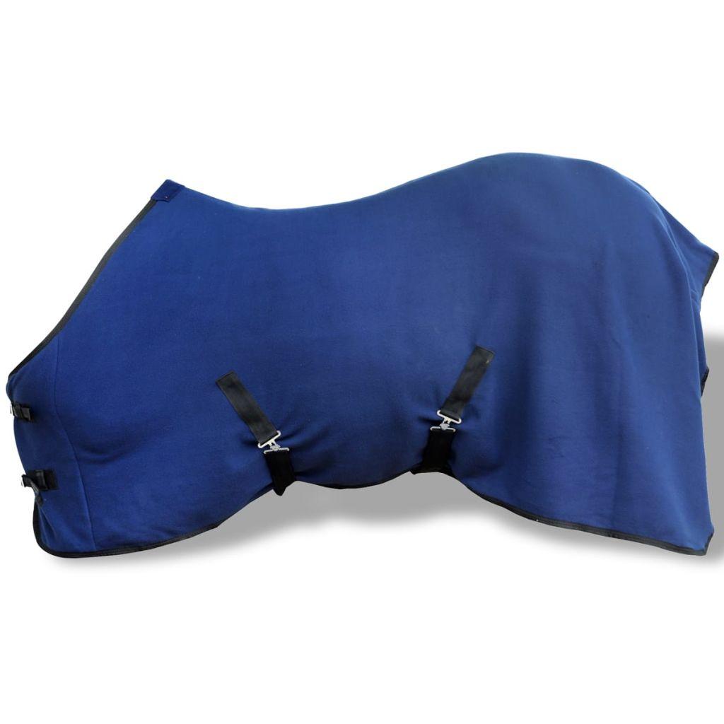 Pferdedecke Fleecedecke Abschwitzdecke mit Kreuzbegurtung 145 cm blau