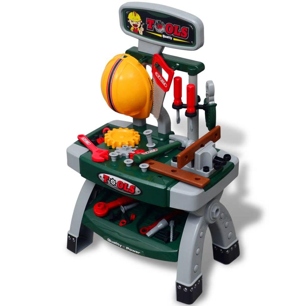 Kinderwerkbank Werkzeugbank mit Werkzeugen grün + grau