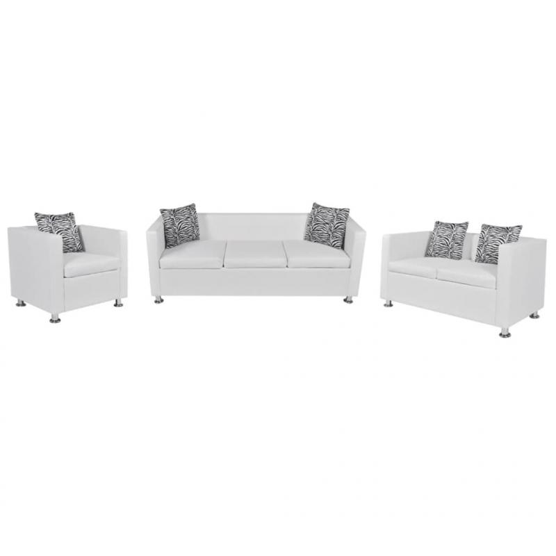 Sofa-Set Kunstleder 3-Sitzer + 2-Sitzer + Sessel Weiß