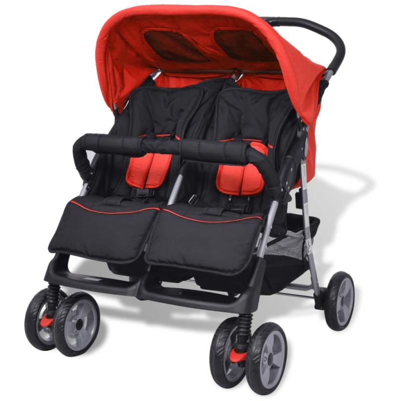Baby Zwillingswagen Stahl Rot und Schwarz