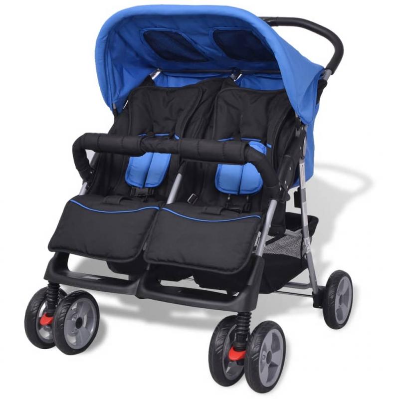 Baby Zwillingswagen Stahl Blau und Schwarz