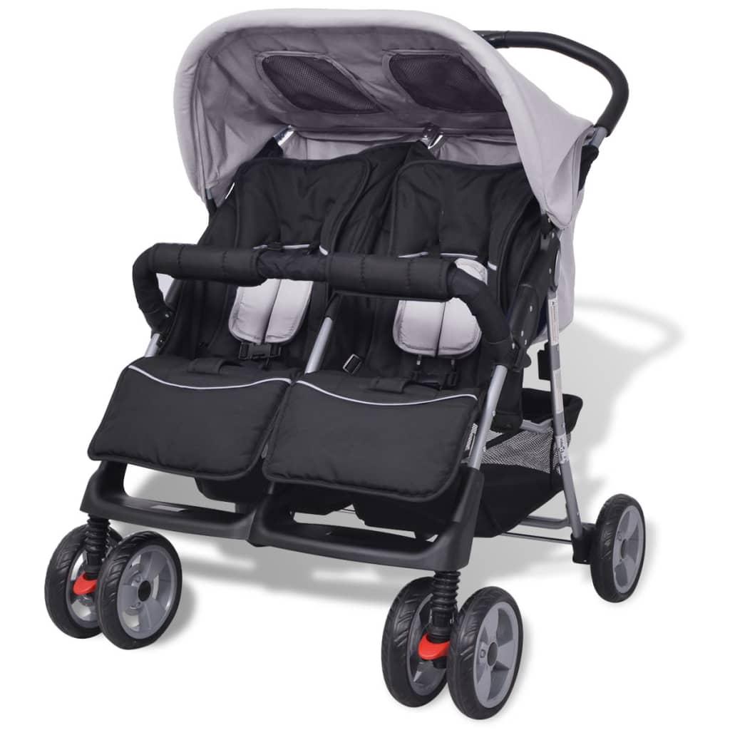 Baby Zwillingswagen Stahl Grau und Schwarz