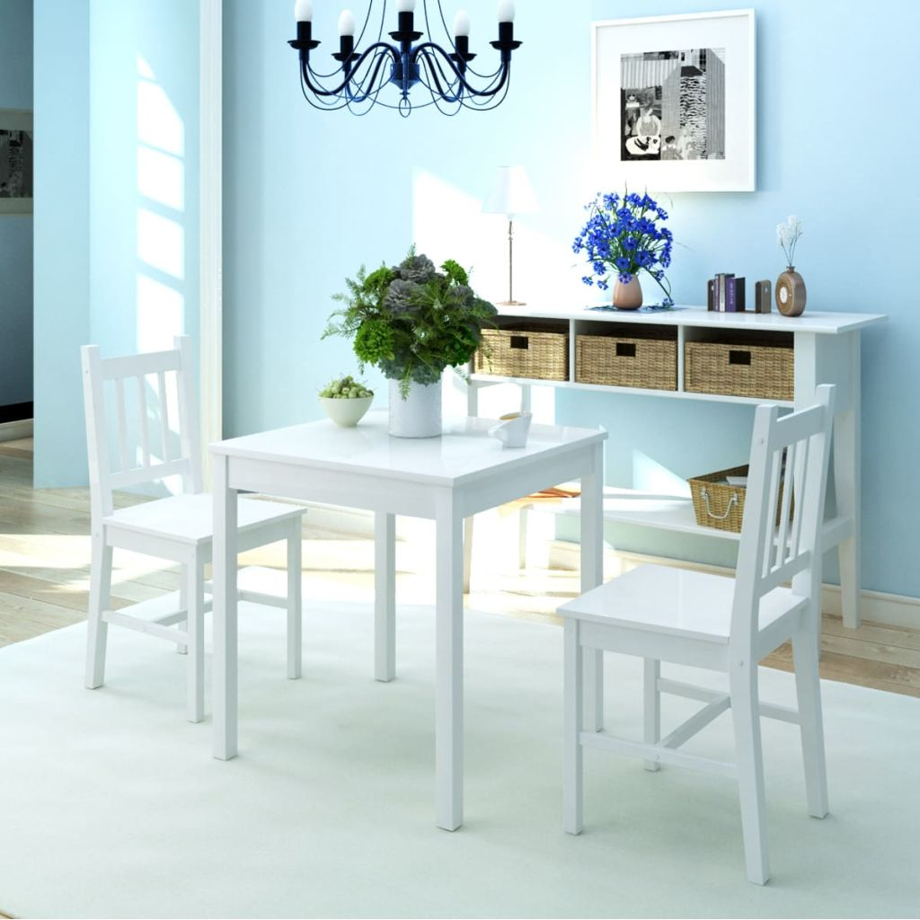 Dreiteiliges Esstisch-Set Pinienholz Weiß