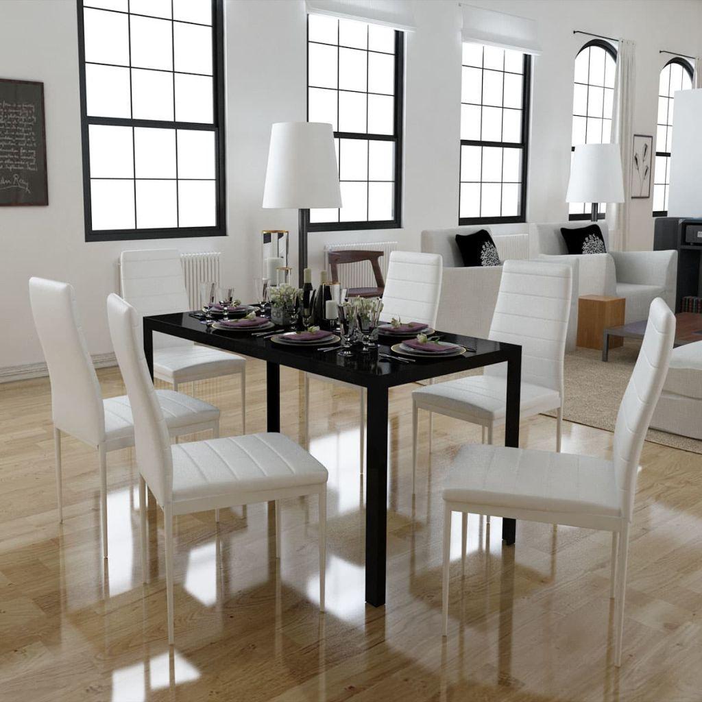 7tlg. Esstisch Set Schwarz und weiß
